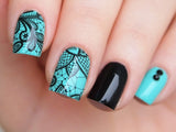 black lace nails, lace nail art, lace nail design