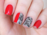 red lace nais, lace nail wraps, black lace nail design