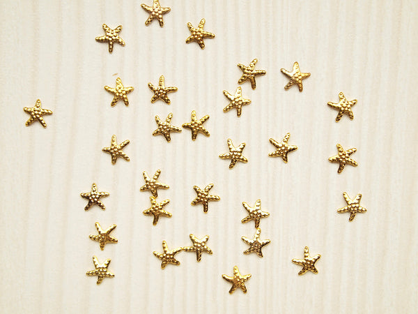 gold starfish nail charms, nail jewelry