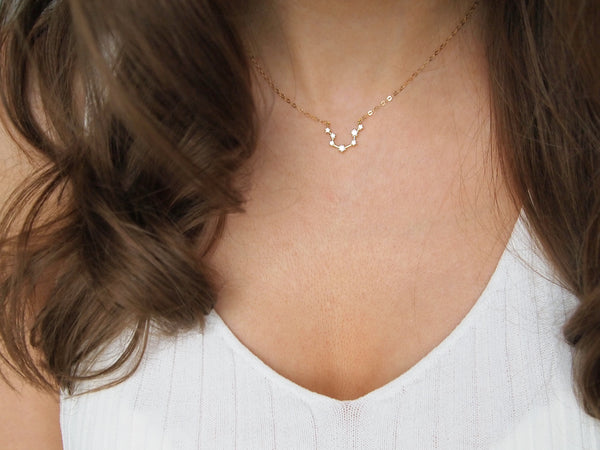 gold aquarius constellation necklace, 14k gold filled chain