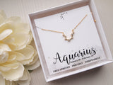 aquarius birthday gift, gold aquarius necklace