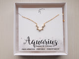 aquarius sign necklace, gift for aquarius