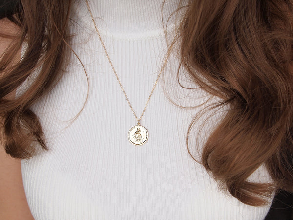 gold aquarius medallion necklace, 14k gold filled chain