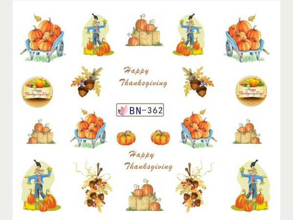 Punpkin nail decals, acorn nail decals, thanksgiving day nail stickers