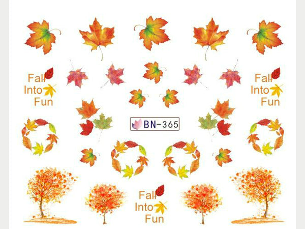colorful leaves nail decals, autumn nail stickers, autums leaves
