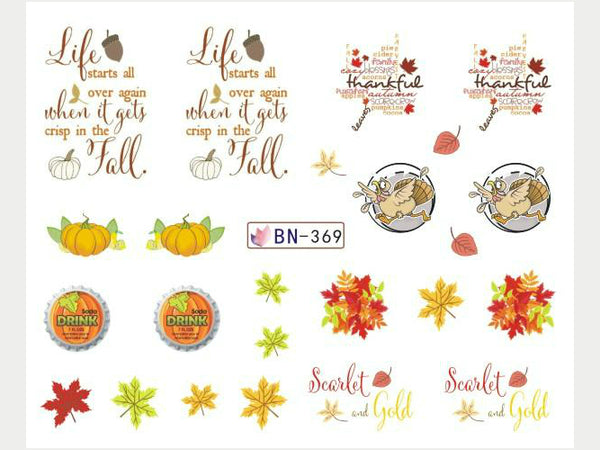 fall leaves nail decals, pumpkin nail stickers, autumn nail stickers