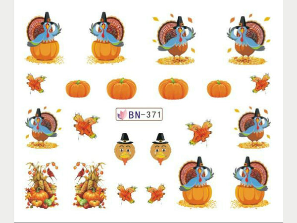 pumpkin nail decals, thanksgiving nail decals, turkey nail stickers