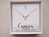 gold cancer charm on 14k gold filled chain