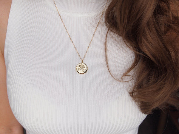 cancer medallion neckalce, 14k gold filled chain
