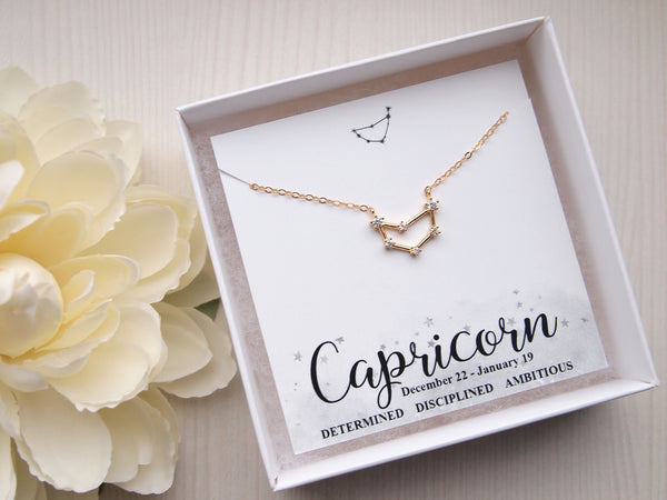 gold capricor necklace, 14k gold filled chain