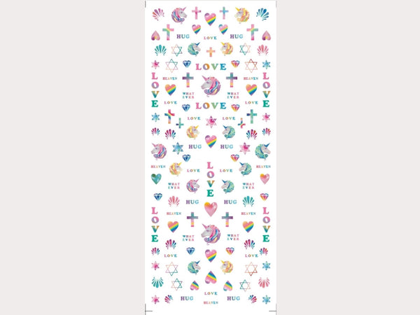 rainbow unicorn love nail stickers