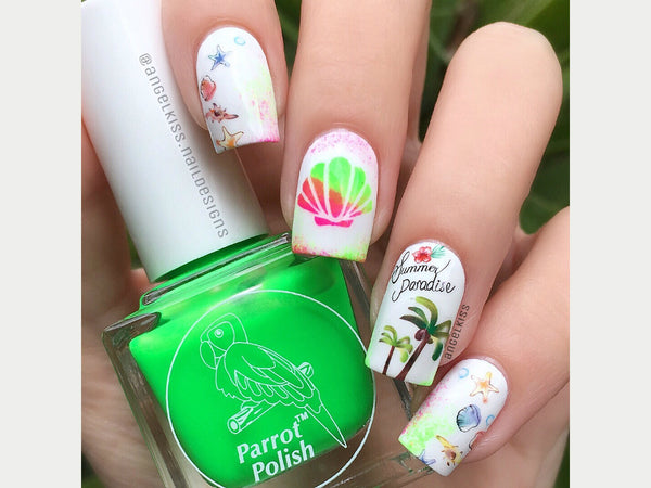 tropical nails, beach nail art, nail decals