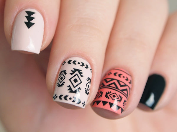 tribal nails, aztec nails, black tribal nail decals