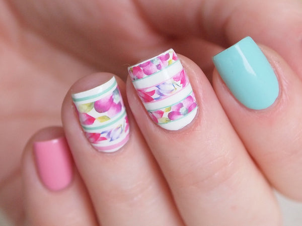 pink floral nails, floral nail decal, sloral nail sticker