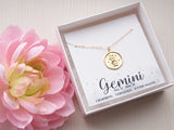 gimini zodiac medallion necklace in gift box