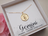 birthday gift for gemini, gold zodiac jewelry