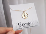 gemini medallion gold necklace, star sign necklace