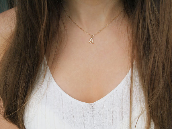 gold leo sign necklace, dainty zodiac choker