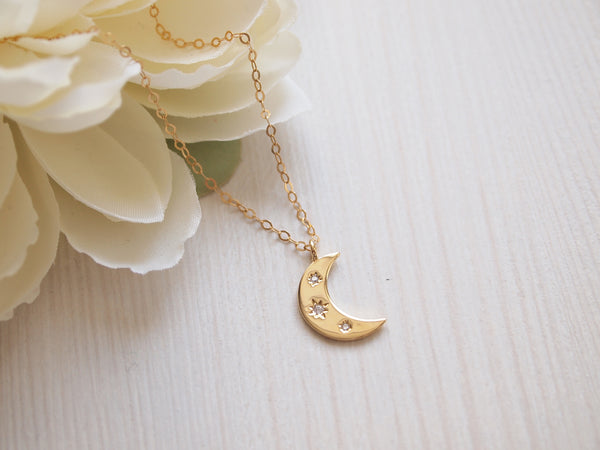 gold moon necklace, layering celestial necklace