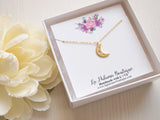 gold moon necklace in gift box, layering jewelry