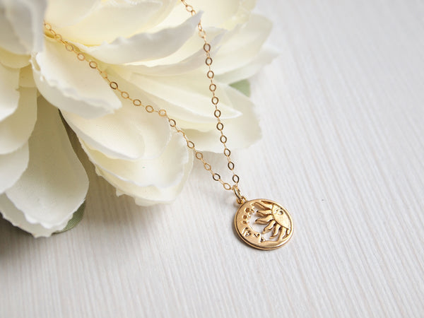 gold sun and moon necklace, celestial jewelry