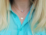 initial coin necklace in gold, layering necklace