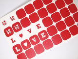 LOVE nail stencils, Giudes for Valentine's day nail decoration