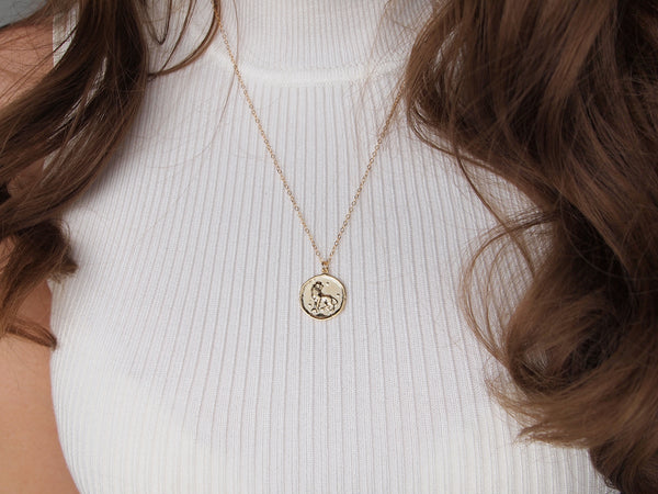 gold leo medallion necklace, 14k gold filled chain