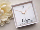 libra zodiac sign necklace, 14k gold filled chain