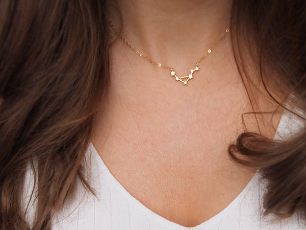 gold libra constellation necklace, 14k gold filled chain
