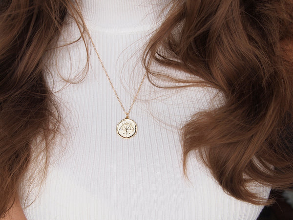 gold libra medallion necklace, 14k gold filled chain
