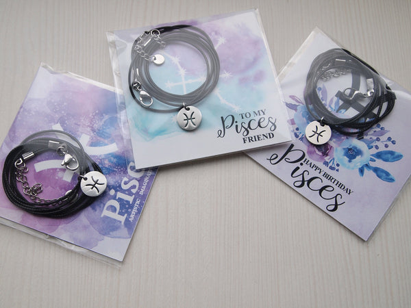 pisces zodiac sign choker, pisces cord necklace