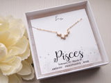 gold pisces zodiac necklace, birthday gift for pisces