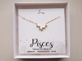 birthday gift for pisces, pisces constellation necklace