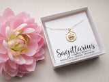sagittarius medallion pendant necklace, gold zodiac jewelry