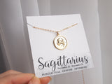 gold sagittarius necklace, 14k gold filled chain