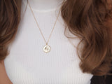 gold sagittarius medallion necklace, 14k gold filled chain