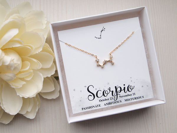 gold scorpio constellation necklace, scorpio charm