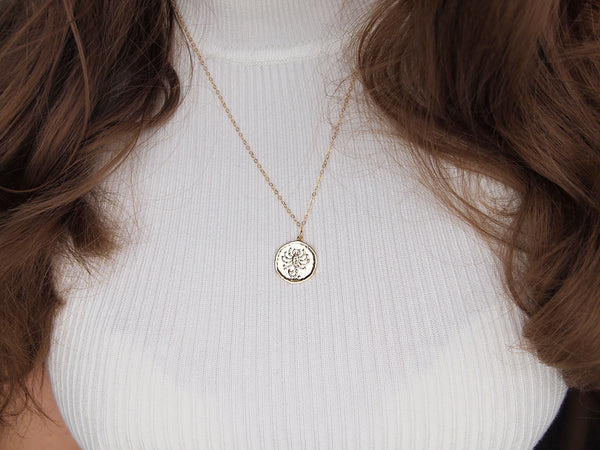 gold scorpio medallion necklace, 14k gold filled chain