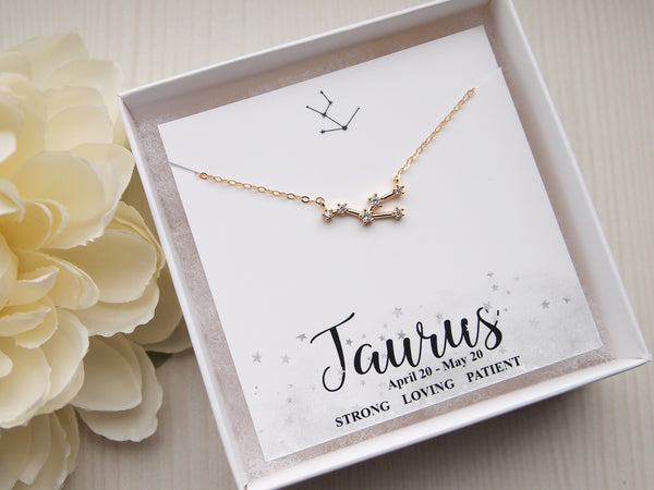 taurus constellation necklace, 14k gold filled chain