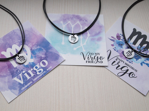 virgo birthday gift necklace, virgo cord choker