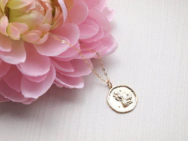 gold virgo medallion necklace, 14k gold filled chain