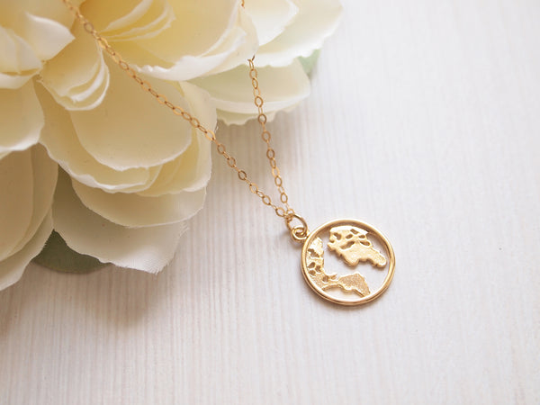 gold world map necklace, travel necklace