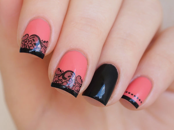 black lace nail design, lace nails, unghie