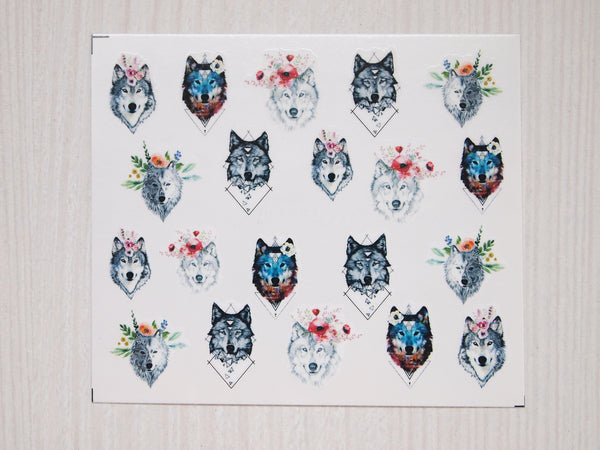 Floral wolf nail decals