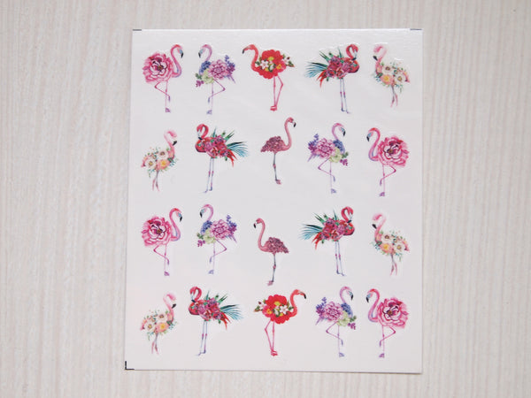 pink flamingo nail decal, flamingo nail sticker, nail design flamingo