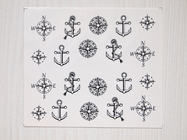 nautical nail decal, anchor nail sticker, nautical nail art