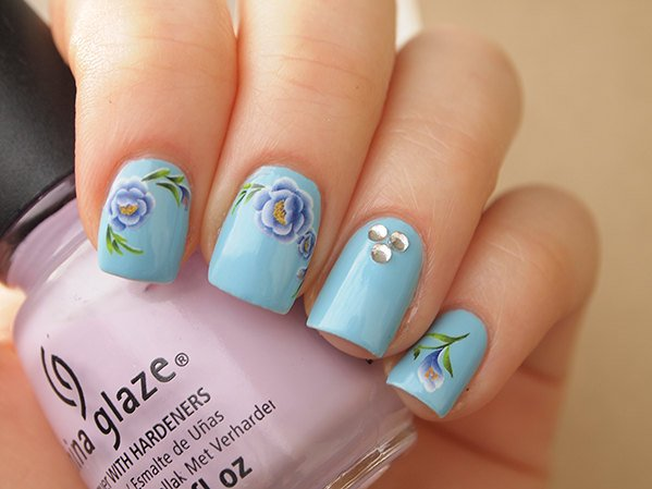 floral nail art decals, purple nail art stickers