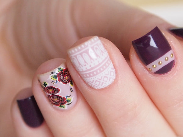 floral nail design, fall floral nails, white tribal nail sticker