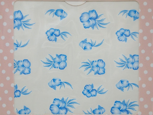 Blue watercolor lilly nail decals